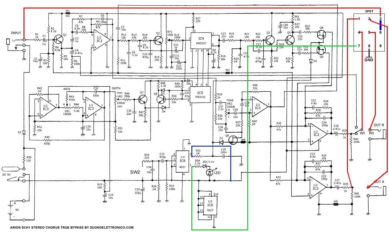 Schema Elettrico Phon : Arion sch chorus schema elettrico true bypass